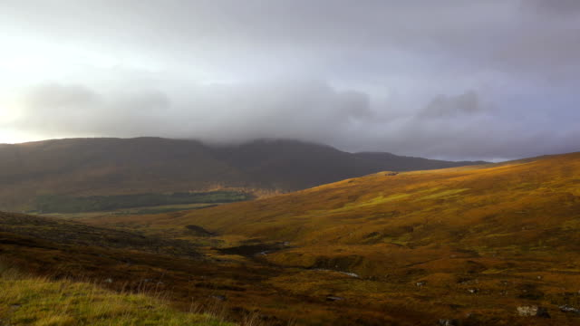 Valley and Mountains near Applecross, Scotland in Autumn video