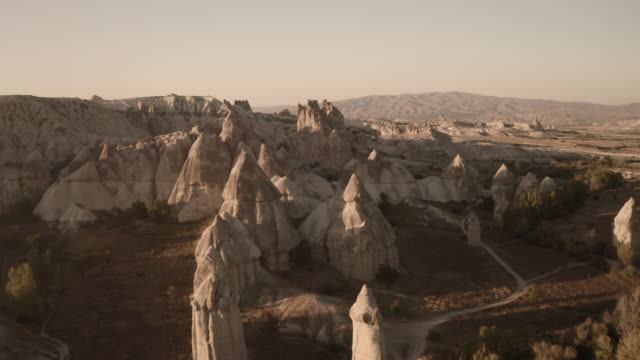 Valley of Love in Cappadocia. One of the most beautiful places. Drone shooting Cappadocia, one of the most beautiful places on earth! Hot air balloon flight over Martian landscapes. Morning drone shooting turkmenistan stock videos & royalty-free footage