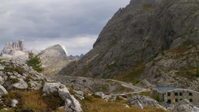 Valparola Pass in the Dolomites Mountains PAN TL video