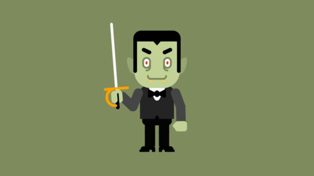 Vampire cartoon character. Congratulations on Halloween Vampire cartoon character. Congratulations on Halloween. Loop animation. Motion graphics. stamping feet stock videos & royalty-free footage