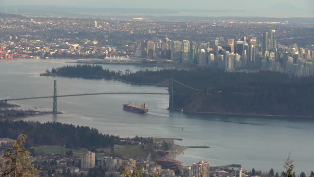 Vancouver Burrard Inlet High Angle View 4K UHD video