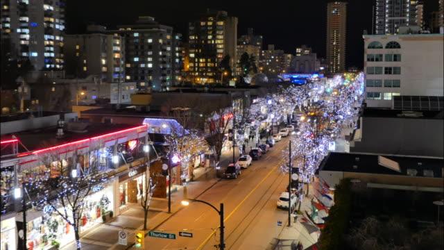 vancouver downtown timelapse nachtverkehr fußgänger - britisch kolumbien stock-videos und b-roll-filmmaterial