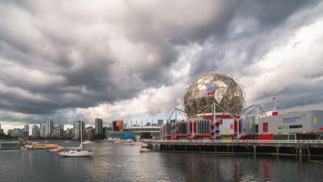 vídeos de stock e filmes b-roll de vancouver science world day cityscape harbourfront skyline - vancouver