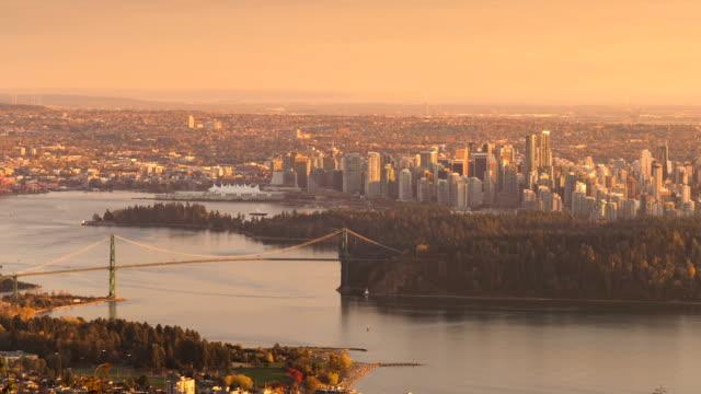 vídeos de stock e filmes b-roll de vancouver skyline day to night time laspe - vancouver