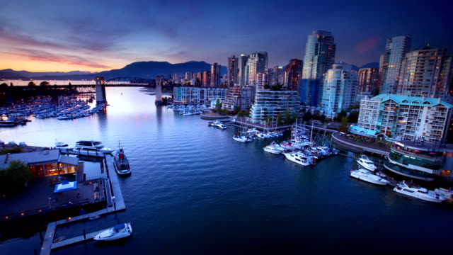 Vancouver Waterfront at dusk, Canada video