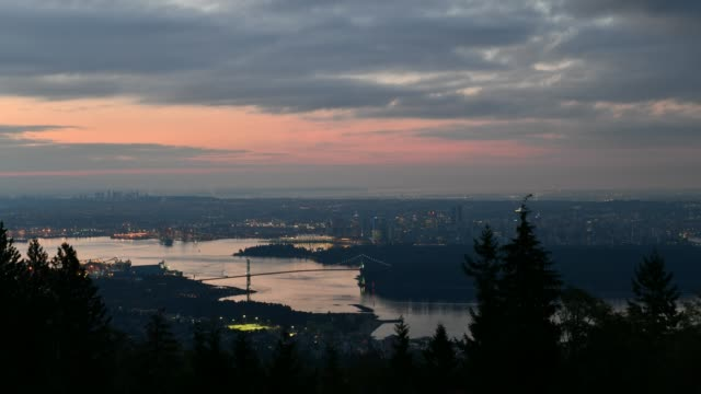 Vancouver,British Columbia, Canada. A high angle view of downtown Vancouver, the Lions Gate Bridge,British Columbia, Canada. vancouver canada stock videos & royalty-free footage