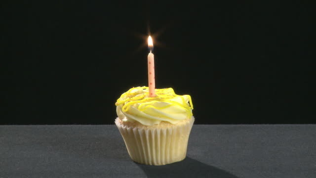 Vanilla cupcake with a candle lit and then blown out video