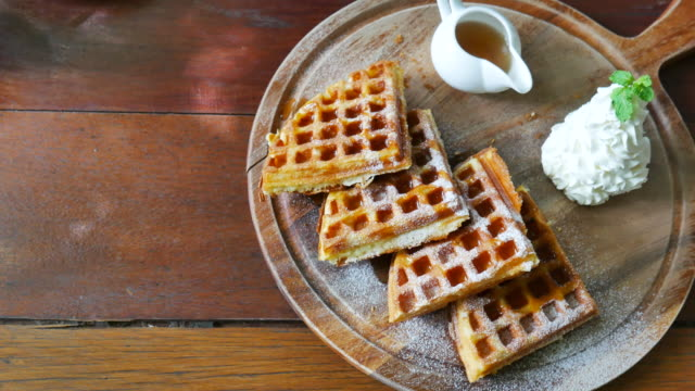 Vanilla ice cream and waffle in  wood plate video