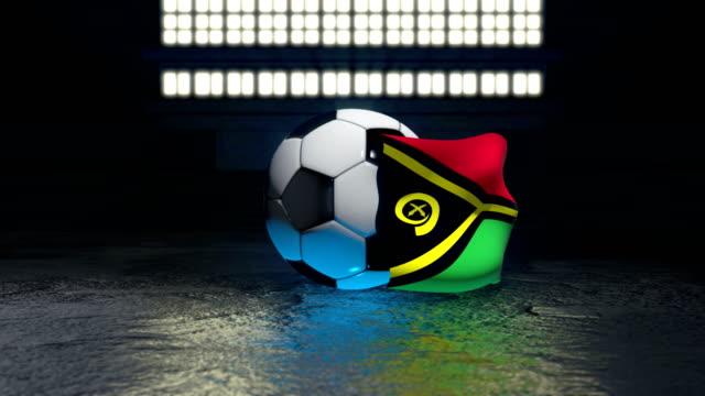 vanuatu flag flies around a soccer ball - insygnia filmów i materiałów b-roll