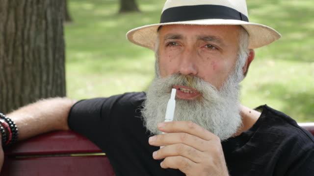dampfen - brief. bärtige glücklicher mann rauchen eine elektronische zigarette im park - strohhut stock-videos und b-roll-filmmaterial