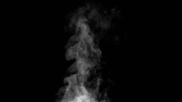 Vapor Rises Up and Curls White Steam rises from a large pot that is behind the scenes. Black background. Filmed at a speed of 120fps steam stock videos & royalty-free footage