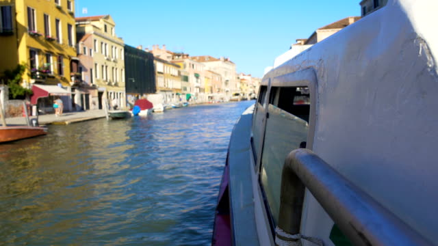 Vaporetto sailing on Grand Canal in Venice, view on houses, sightseeing video