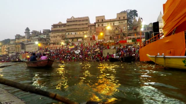 Varanasi Ghats, Diwali Festival, Ganges River and Boats, Uttar Pradesh, India, Real Time video