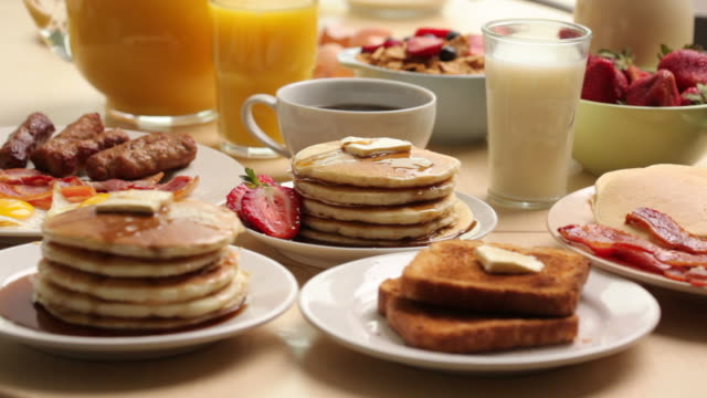 Variety of breakfast foods video