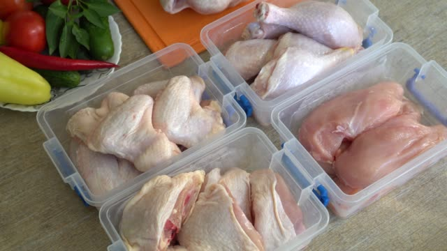 vídeos de stock e filmes b-roll de a variety of different types of chicken meat in fridge or freezer - inteiro