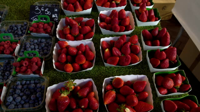 vídeos de stock e filmes b-roll de variety of fresh blackberries and strawberries sold on local fruit market, trade - baga