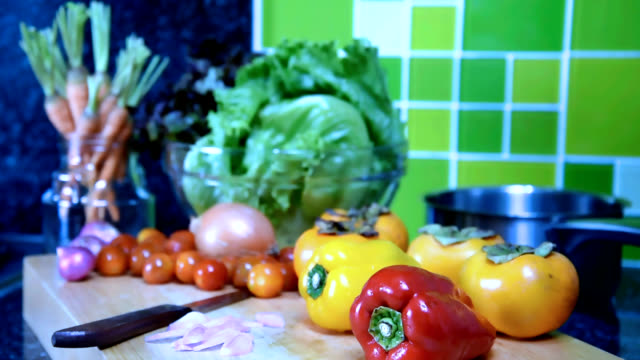 Variety vegetable on wooden box in kitchen / food and drink, healthy lifestyle conceptual Variety vegetable on wooden box in colorful modern kitchen / food and drink, healthy lifestyle conceptual pantry stock videos & royalty-free footage