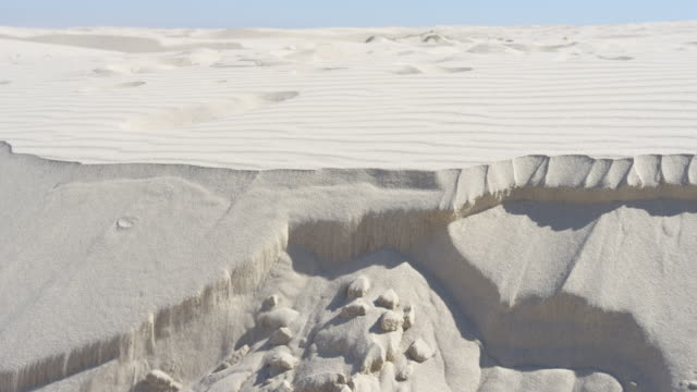 Various angles of sand erosion as a desert dune collapses in slow motion. Climate change & sands of time concepts. Filmed on RED Camera.
