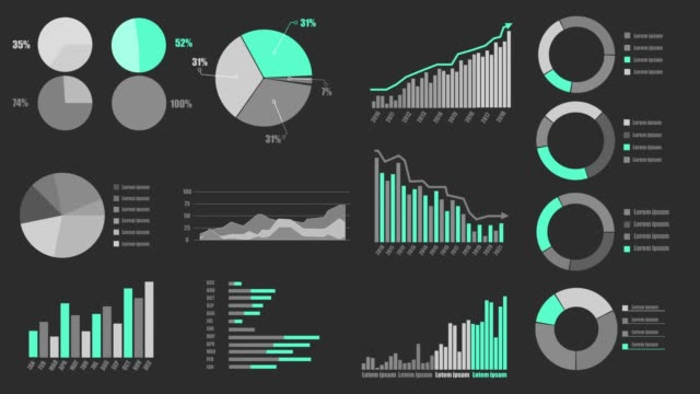 Various Animated Infographics Charts as HUD head-up display video
