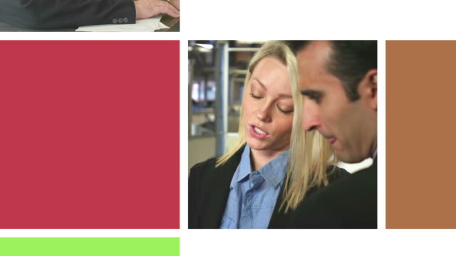 Various business scenes on moving video wall video