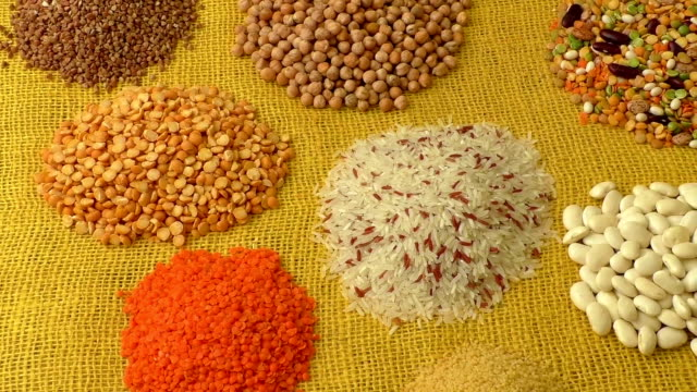 Various colorful dried legumes video