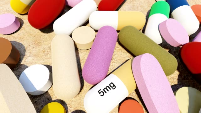 Various colourful pills video