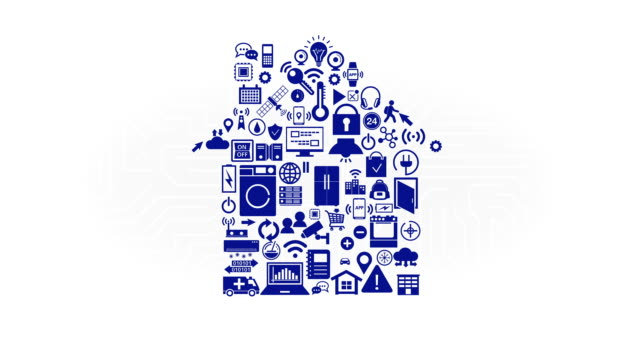 Various internet of things Smart home appliances icon makes home shape. Various internet of things Smart home appliances icon. home icon stock videos & royalty-free footage