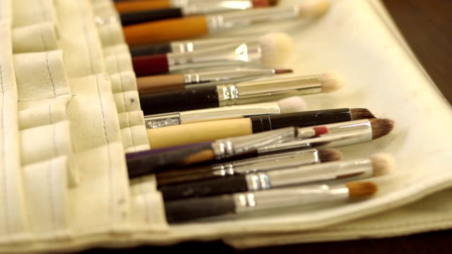 Various makeup brush set close-up.Makeup brush set video