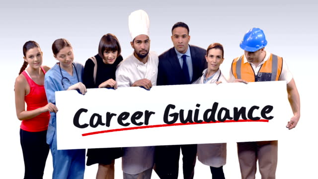 Various professional holding placard of career guidance text video