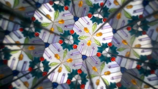 various shapes of kaleidoscope inside video