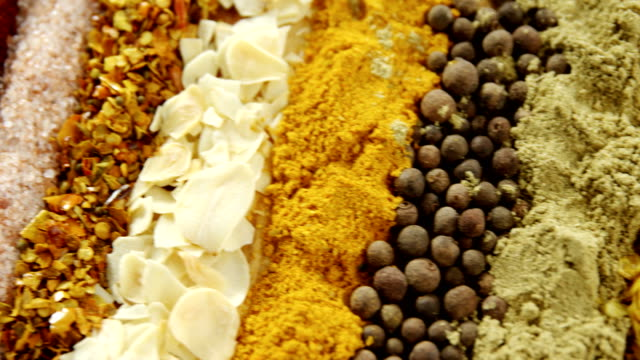 Various spices arranged in row 4k video