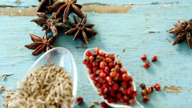 Various spices on wooden table 4k video