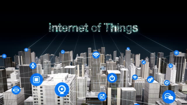 Various things sensor icon on Smart city, connecting 'Internet of Things' technology. real building. video
