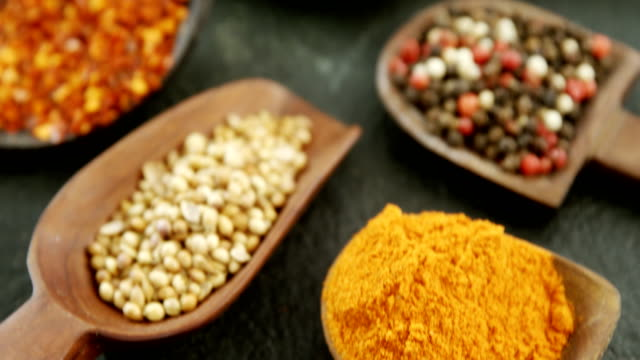 Various type of spices in spoon 4k video