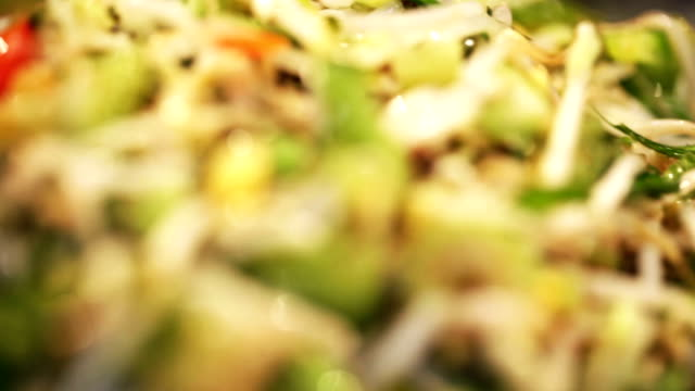 Various types of salads. Food background video