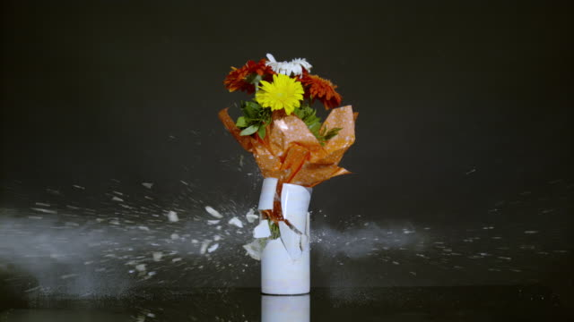 Vase with flowers exploding, Ultra Slow Motion