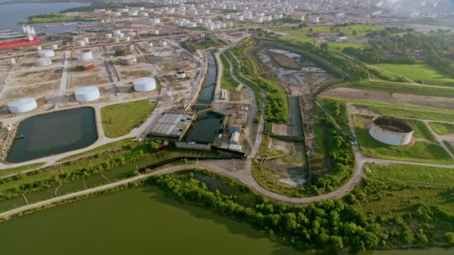 AERIAL Vast area of oil storage tanks near in Texas, USA video
