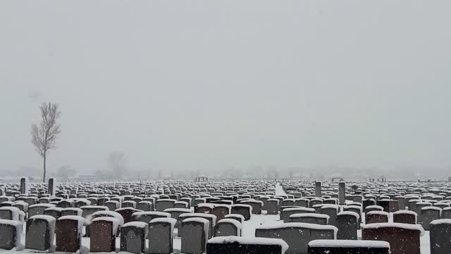 Vast cemetery under a blizzard at dusk