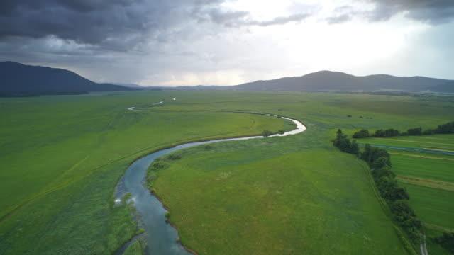 AERIAL Vast marshland on a cloudy day