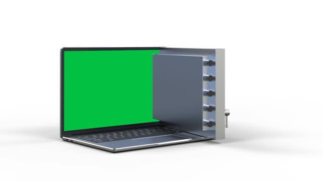 vault door on computer notebook Online security concept with 3d rendering vault door on computer notebook 4k footage identity theft stock videos & royalty-free footage