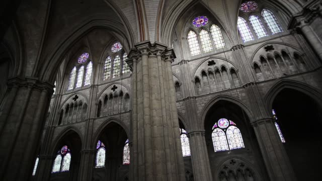 vaults and arches of the cathedral saint-etienne of bourges - cathedrals stock videos & royalty-free footage