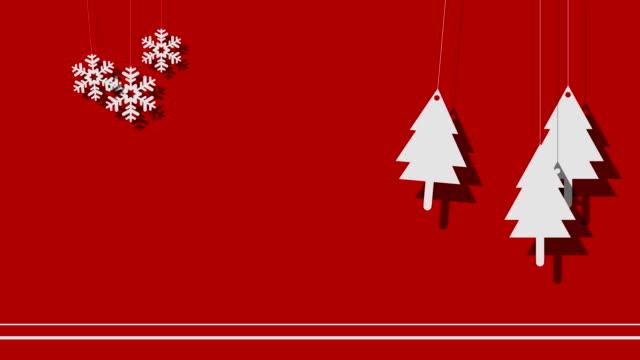 stockvideo's en b-roll-footage met vector christmas achtergrond van de bomen en sneeuwvlokken op een string - hangen