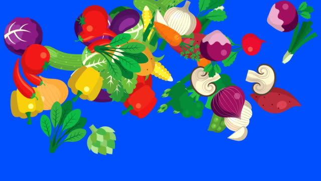 Vector Vegetables Flying And Falling on a Green Screen