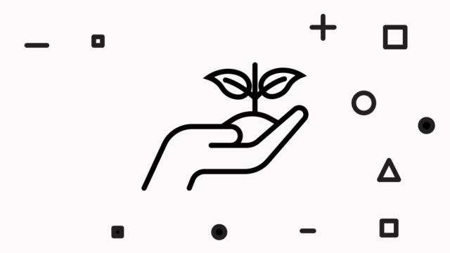 vidéos et rushes de vectors sustainable lifestyle line style icon animation - symbole