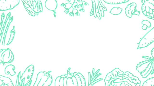 gemüse bewegte muster grüne hintergrundfarbe, kinder handzeichnung konzept, design, illustration, die isoliert auf weißem hintergrund nahtlose schleife animation 4k, mit kopie des rechenzentrums rechteck - rechteck stock-videos und b-roll-filmmaterial