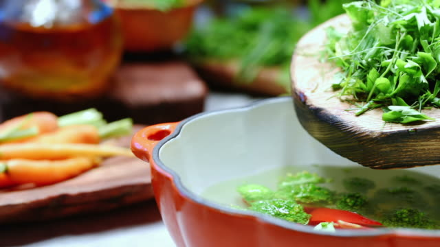 vegetable soup cooking - crucifere brassicali video stock e b–roll