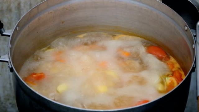 Vegetable soup in pot video