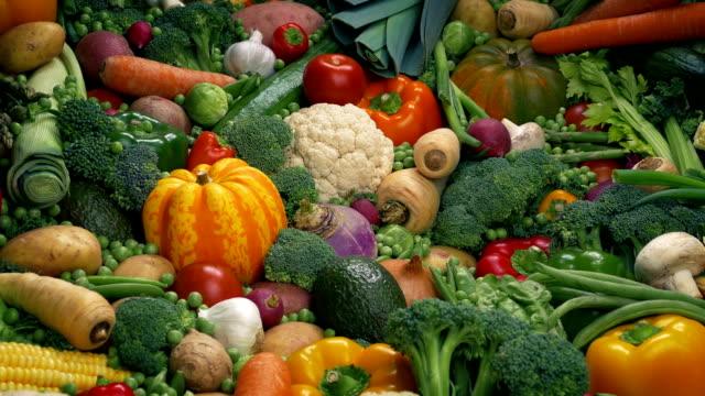 vegetables display - healthy eating concept - węglowodan jedzenie filmów i materiałów b-roll