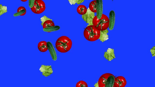 Vegetables falling animation chroma key element loop, tomatoes, salad and pepper video