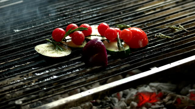 Vegetables on grill. video